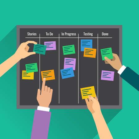La agilidad es alcanzado por la gestión efectiva de la tarea con la ayuda de la junta, colorido vertor plana ilustración