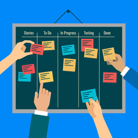 iterative: Agility is reached by effective task management with the help of the board, colorful vertor flat illustration