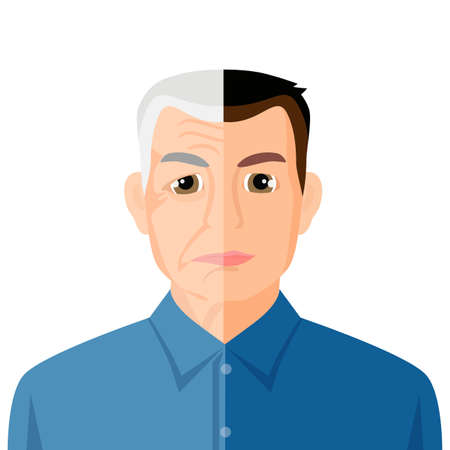 wrinkled face: Aging concept portrait showing the process of aging from young to senior, colorful vector flat illustration Illustration
