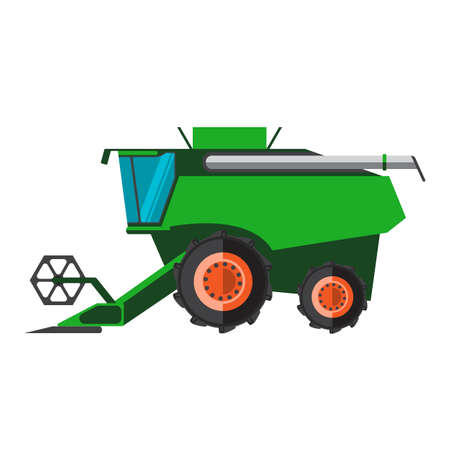 Agricultural combine machine is ready for harvesting on the field, colorful vector flat illustration Illustration