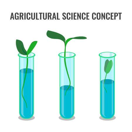 concept de la science agricole montrant la germination dans le tube de verre, coloré plat illustration vectorielle