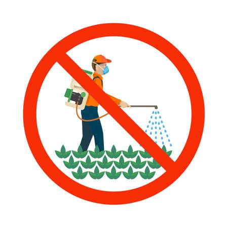 Landwirtschaftliche Chemikalien, die von Bauern über die Pflanzen kastriert werden, bunten Vektor flach Illustration Standard-Bild - 60703169