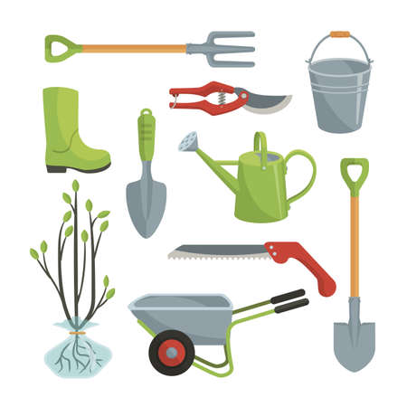 Set of various agricultural tools for garden care, colorful vector flat illustration Illustration