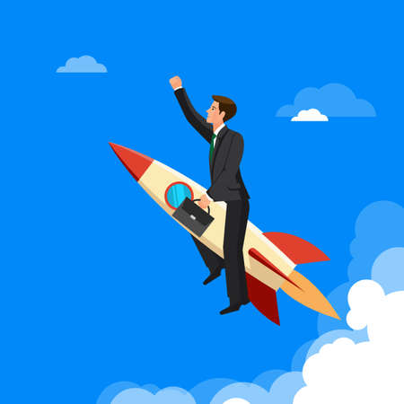 rivals: Ahead concept, man is victoriously flying with the rocket ahead of all rivals, colorful vector flat illustration