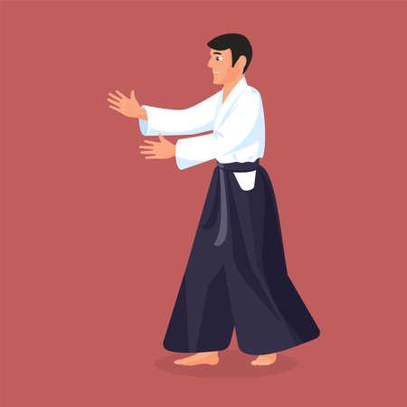 defending: Man is practicing his defending skills in uniform, colorful vector flat illustration