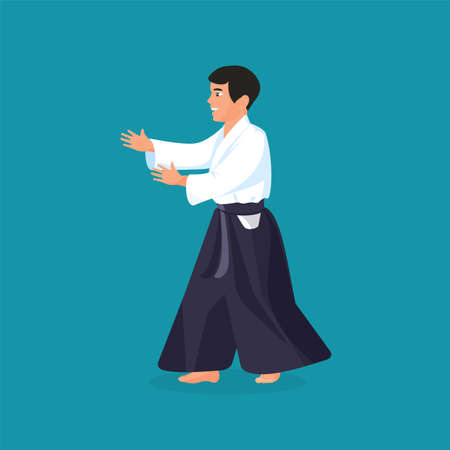Man is practicing his defending skills in uniform, colorful vector flat illustration