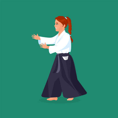 aikido: Woman is practicing his defending skills in uniform, colorful vector flat illustration Illustration