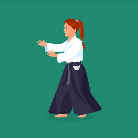 defending: Woman is practicing his defending skills in uniform, colorful vector flat illustration Illustration