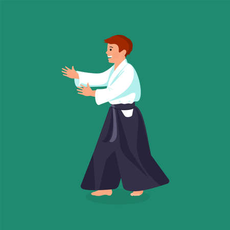 combative: Man is practicing his defending skills in uniform, colorful vector flat illustration