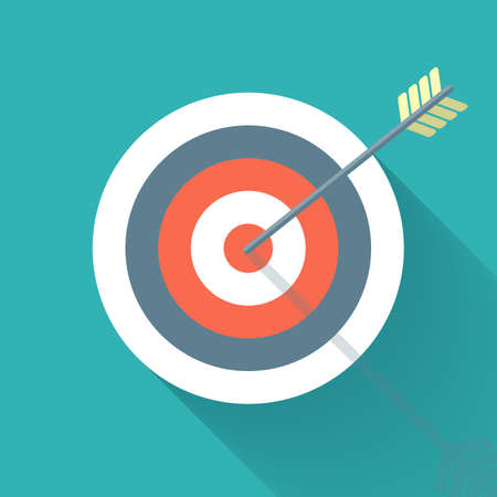 animal eyes: Aiming concept, the arrow in bulls eye, colorful vector flat illustration