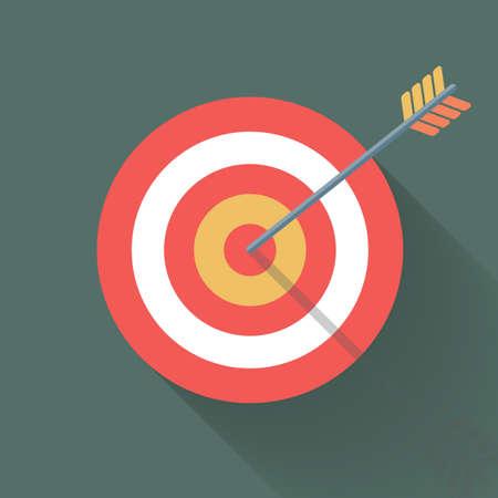bulls eye: Aiming concept, the arrow in bulls eye, colorful vector flat illustration