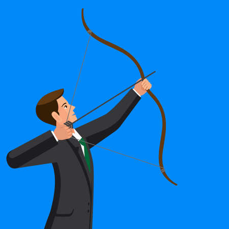 Aiming concept. The man is shooting arrow out. Colorful vector flat illustration Illustration