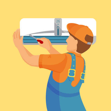 technician: Air conditioner unit repair and installing concept. Colorful vector flat illustration. Illustration