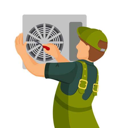 Airconditioner reparatie en het installeren van concept. Kleurrijke vector flat illustratie.