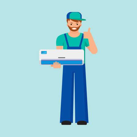 El acondicionador de aire unitario de reparación y el concepto de la instalación. Colorido del vector plana ilustración. Foto de archivo - 63946289
