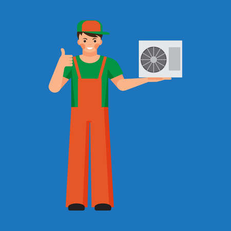 setup man: Air conditioner unit repair and installing concept. Colorful vector flat illustration. Illustration