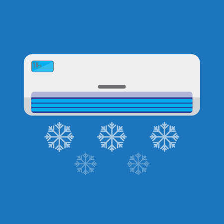 condenser: Air conditioner unit is cooling the air. Colorful vector flat illustration. Illustration