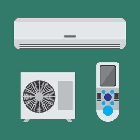 condenser: Air conditioner equipment set. Colorful vector flat illustration.