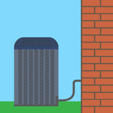 condenser: Air conditioner unit concept. Colorful vector flat illustration.