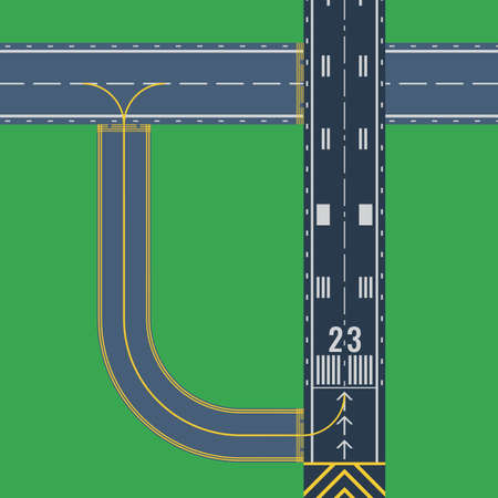 Airport runway for taking off and landing aircrafts. Colorful vector flat illustration.