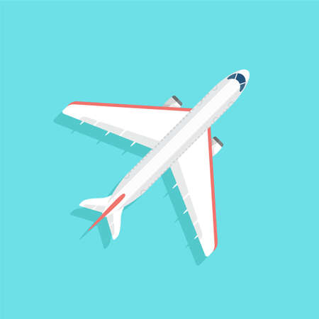 jet airplane: Aircraft with wide wings is flying in blue sky. Colorful flat vector illustration. Illustration
