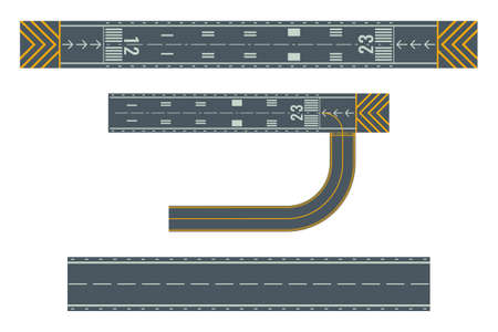 Airport runways for taking off and landing aircrafts. Colorful vector flat illustration.