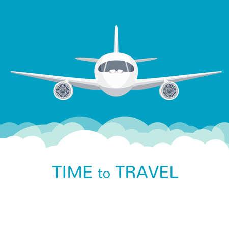 flucht: Flugzeug mit breiten Flügeln ist in blau bewölktem Himmel fliegen. Bunte flache Vektor-Abbildung. Illustration