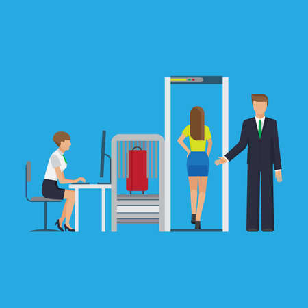 baggage: Airport security equipment for scanning the luggage. Vector flat colorful illustration.