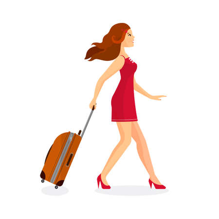 bagagli: Woman with suitcase is going in airport terminal. Colorful vector flat illustration.