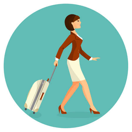 Woman with suitcase is going in airport terminal. Colorful vector flat illustration.