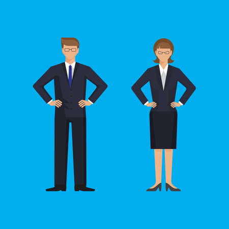 arms akimbo: Man and woman are standing holding arms akimbo. Colorful vector flat illustration.