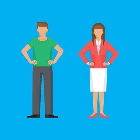 akimbo: Man and woman are standing holding arms akimbo. Colorful vector flat illustration.