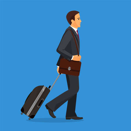 going in: Man with suitcase is going in airport terminal. Colorful vector flat illustration.