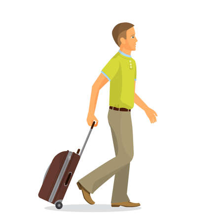 luggage travel: Man with suitcase is going in airport terminal. Colorful vector flat illustration.