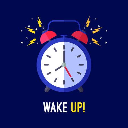 waking: Alarm clock is ringing waking somebody up. Colorful vector flat illustration.