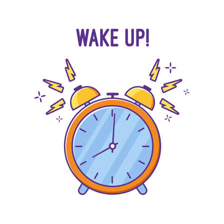 somebody: Alarm clock is ringing waking somebody up. Colorful vector flat illustration.