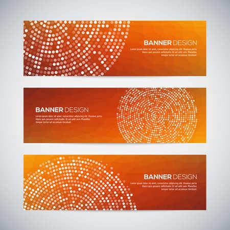 Banners met abstracte kleurrijke geometrische gestippelde patroon en achtergrond. Vector illustratie.