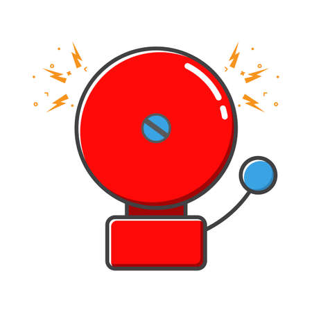 Red ringing alarm bell in retro style, colorful vector flat illustration