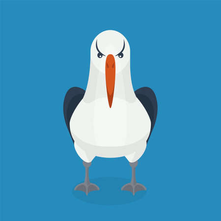 albatross: Albatross bird is sitting alone. Colorful vector flat illustration. Illustration