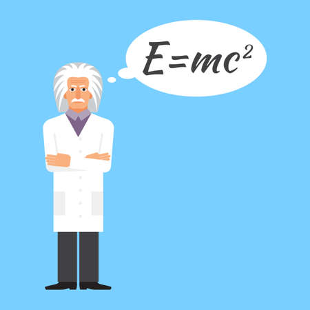 einstein: Einstein is stands keeping the formula in his head. Colorful vector flat illustration.