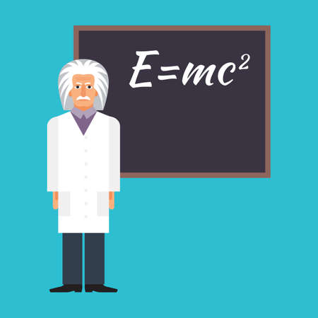 Einstein is standing next to the blackboard with the formula. Colorful vector flat illustration. Illustration
