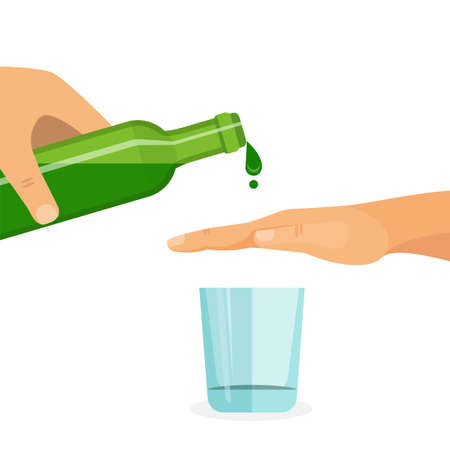alcohol abuse: Alcohol abuse concept. Hand prevents filling the glass with drink. Colorful vector flat illustration.