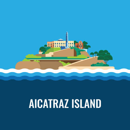 bay area: Alcatraz island view from the sea. Colorful vector flat illustration.