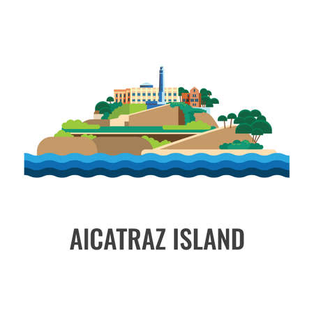 sea view: Alcatraz island view from the sea. Colorful vector flat illustration.