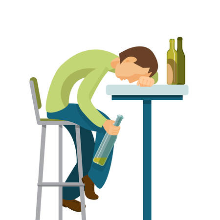 wasted: Alcohol abuse concept. Guy has drunk too much. Colorful vector flat illustration.