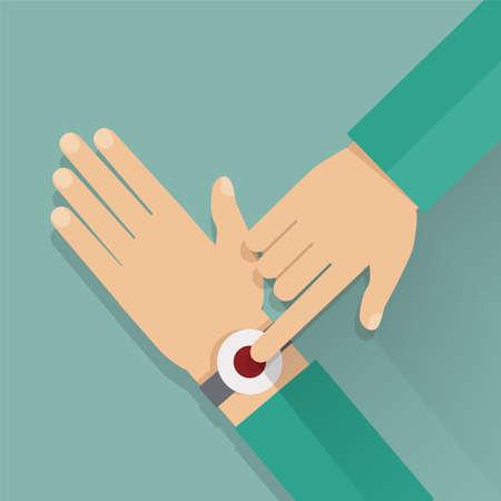 wrist: Alert button on the wrist. Colorful vector flat illustration.