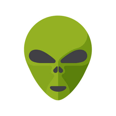 invasion: Green cartoon aliens head isolated. Colorful vector flat illustration.
