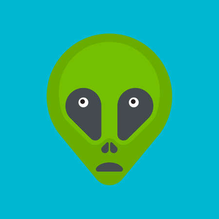 space invader: Green cartoon aliens head isolated. Colorful vector flat illustration.