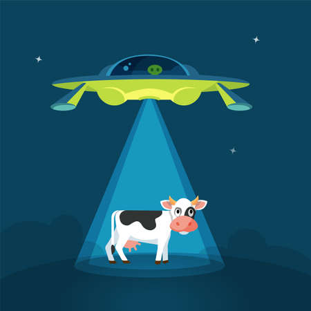 Divertente cartone animato alieni astronave rapisce la mucca, colorato illustrazione vettoriale piatta Vettoriali