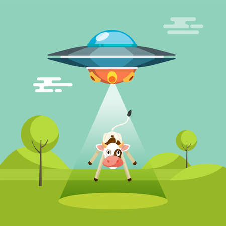 abducted: Cartoon funny aliens spaceship abducts the cow, colorful flat vector illustration